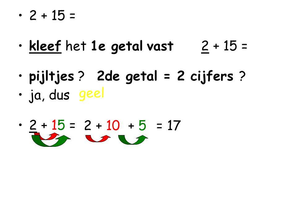 •2 + 15 = •kleef het 1e getal vast 2 + 15 = •pijltjes .