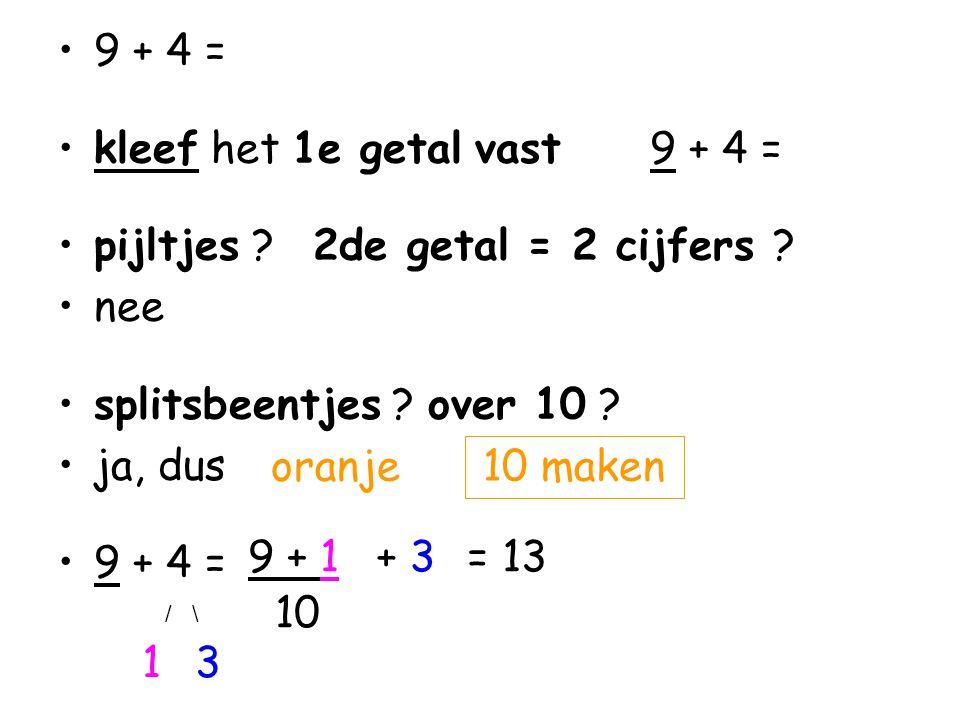 •9 + 4 = •kleef het 1e getal vast 9 + 4 = •pijltjes .
