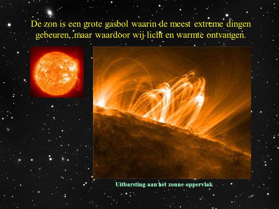 De zon is een grote gasbol waarin de meest extreme dingen gebeuren, maar waardoor wij licht en warmte ontvangen. Uitbarsting aan het zonne-oppervlak