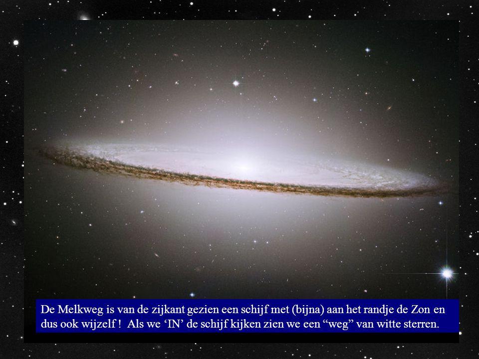 """De Melkweg is van de zijkant gezien een schijf met (bijna) aan het randje de Zon en dus ook wijzelf ! Als we 'IN' de schijf kijken zien we een """"weg"""" v"""