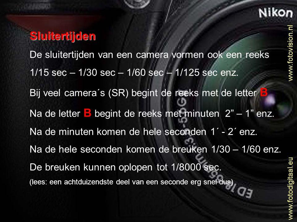 Sluitertijden De sluitertijden van een camera vormen ook een reeks 1/15 sec – 1/30 sec – 1/60 sec – 1/125 sec enz. Bij veel camera´s (SR) begint de re