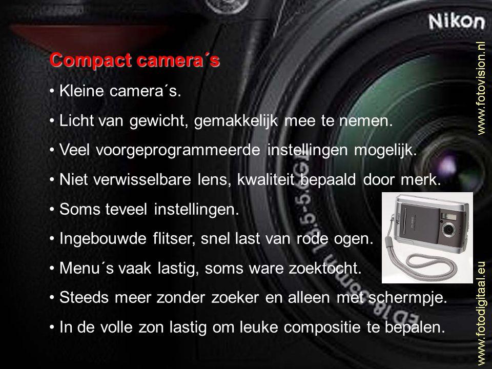 www.fotovision.nl www.fotodigitaal.eu Juiste methode voor mooie belichting • Doe net alsof je NIET op automaat werkt • Meet de belichting van het omgevingslicht • Welke tijd en welk diafragma geeft dit.