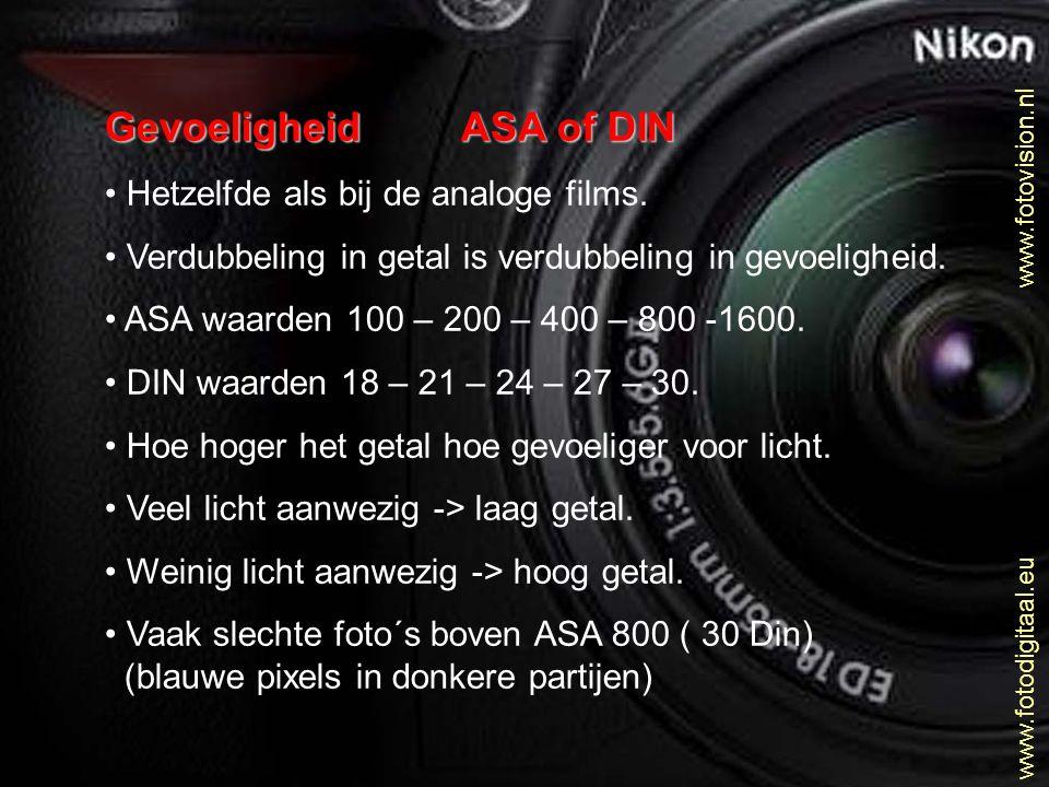Gevoeligheid ASA of DIN • Hetzelfde als bij de analoge films. • Verdubbeling in getal is verdubbeling in gevoeligheid. • ASA waarden 100 – 200 – 400 –