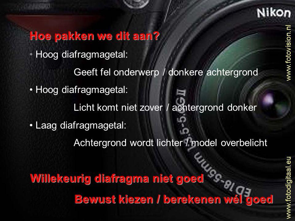 www.fotovision.nl www.fotodigitaal.eu Hoe pakken we dit aan? • Hoog diafragmagetal: Geeft fel onderwerp / donkere achtergrond • Hoog diafragmagetal: L