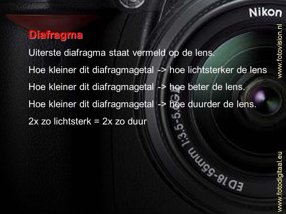 Diafragma Uiterste diafragma staat vermeld op de lens. Hoe kleiner dit diafragmagetal -> hoe lichtsterker de lens Hoe kleiner dit diafragmagetal -> ho