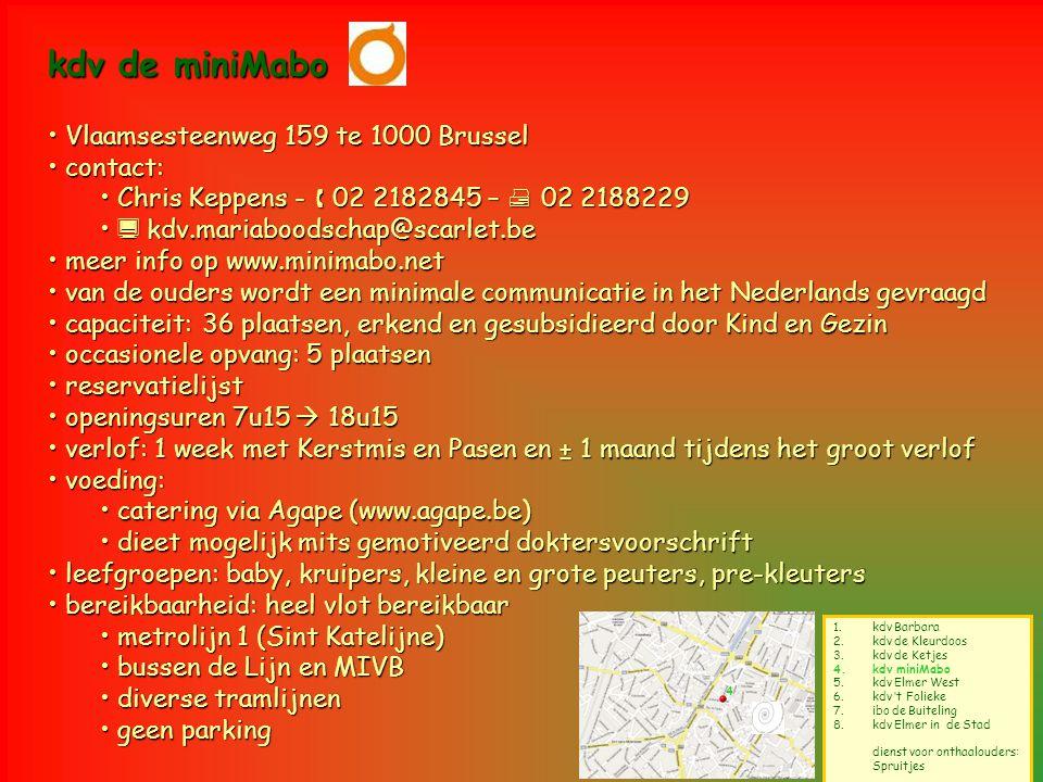4 1.kdv Barbara 2.kdv de Kleurdoos 3.kdv de Ketjes 4.kdv miniMabo 5.kdv Elmer West 6.kdv 't Folieke 7.ibo de Buiteling 8.kdv Elmer in de Stad dienst v