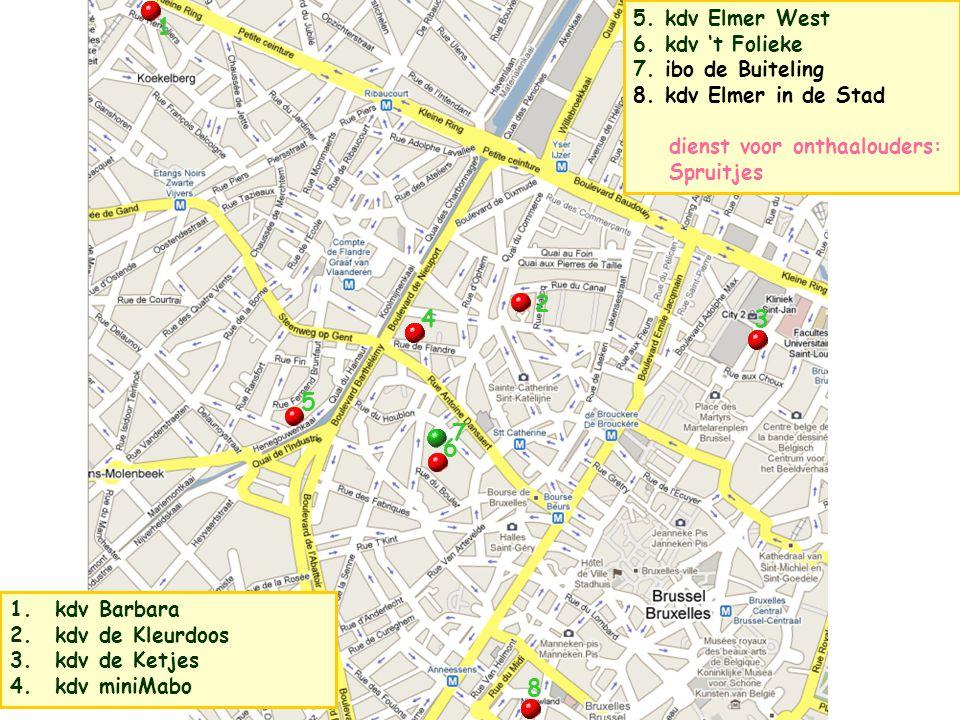 5. kdv Elmer West 6. Kdv 't Folieke 7. ibo de Buiteling 8. Kdv Elmer in de Stad dienst voor onthaalouders: Spruitjes 1 2 4 5 3 7 6 1. kdv Barbara 2. k