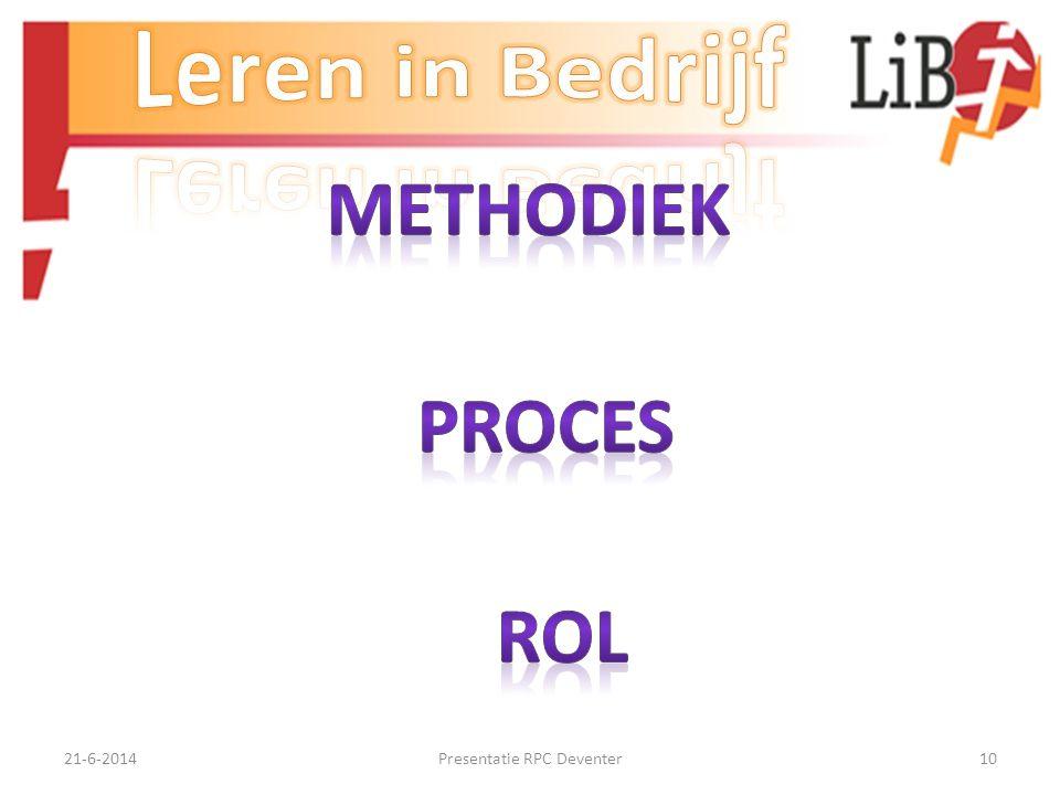 21-6-2014Presentatie RPC Deventer9 Rol praktijkbegeleiders Opstellen concepten, weer terugkoppelen en daarbij vooral de uitvoerenden betrekken