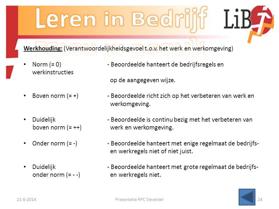 21-6-2014Presentatie RPC Deventer23 Openheid met betrekking tot werk: • Norm (= 0)- Beoordeelde is aanspreekbaar op en open over onderwerpen met betre