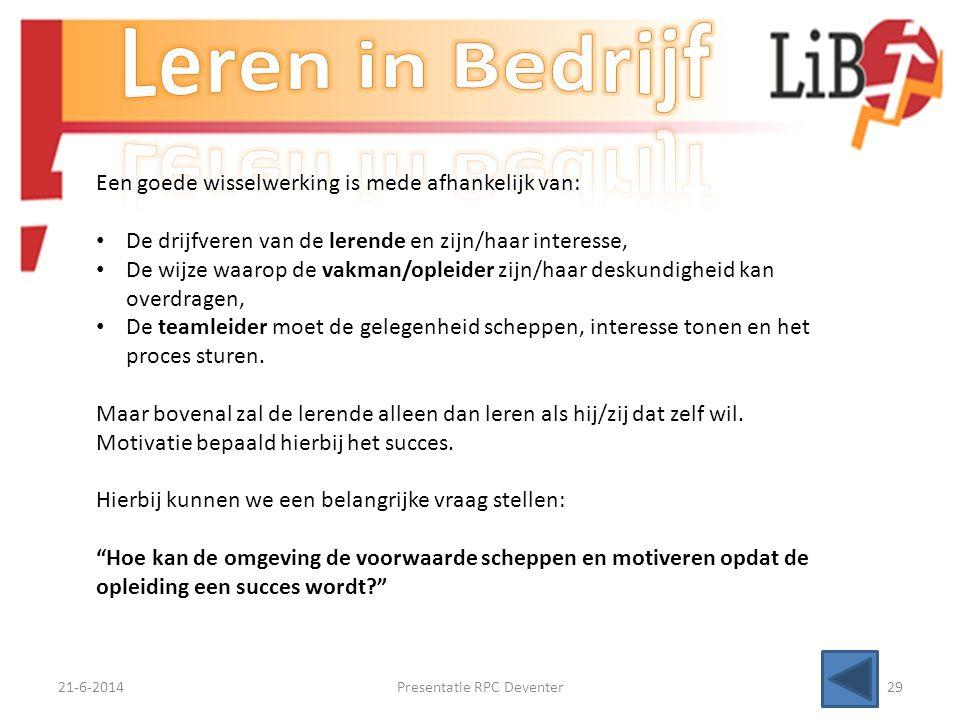 21-6-2014Presentatie RPC Deventer28 Leren is een interactie tussen mensen en hun omgeving Als wij over leren spreken, hebben we het over verbeteren/ve