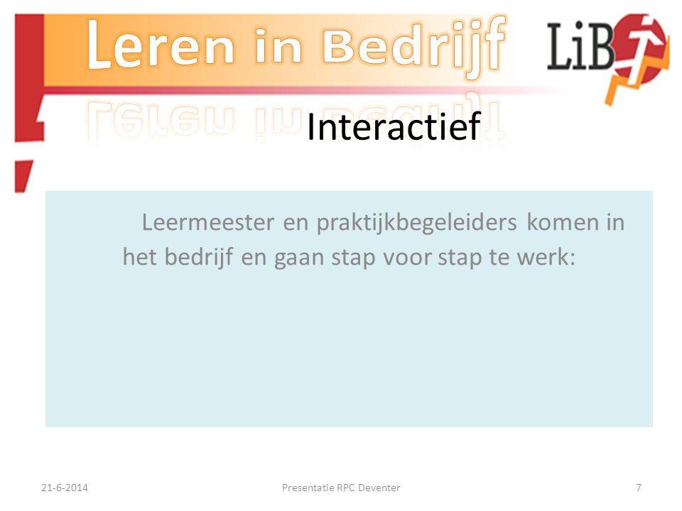 21-6-2014Presentatie RPC Deventer6 Werkwijze ontwikkeling leermateriaal Inventariseren van de werkwijze en procedures, vakkun- digheid en kennis van z