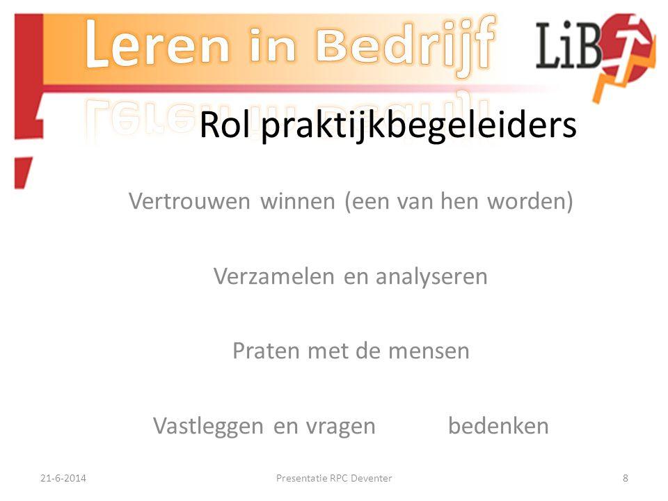 21-6-2014Presentatie RPC Deventer8 Rol praktijkbegeleiders Vertrouwen winnen (een van hen worden) Verzamelen en analyseren Praten met de mensen Vastleggen en vragen bedenken