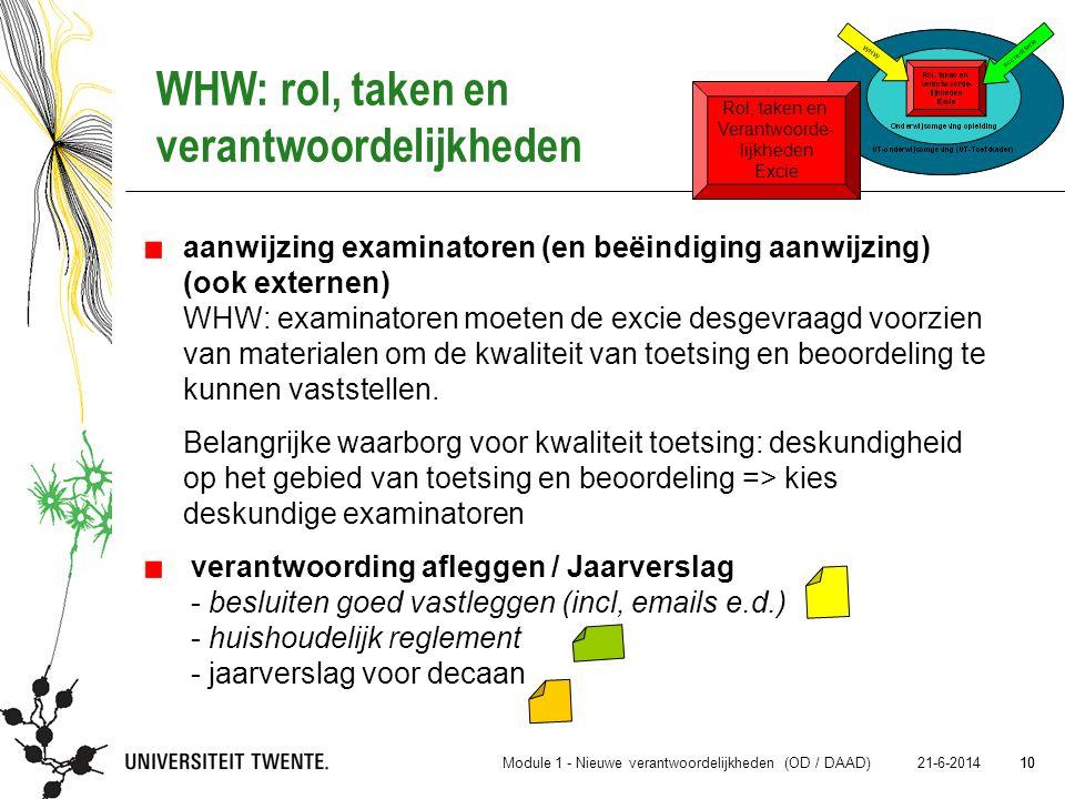 10 21-6-2014 10 aanwijzing examinatoren (en beëindiging aanwijzing) (ook externen) WHW: examinatoren moeten de excie desgevraagd voorzien van material