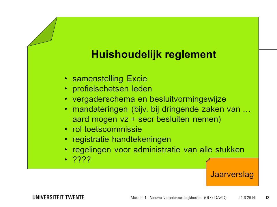 12 21-6-2014 12 Huishoudelijk reglement • samenstelling Excie samenstelling Excie • profielschetsen leden profielschetsen leden • vergaderschema en be