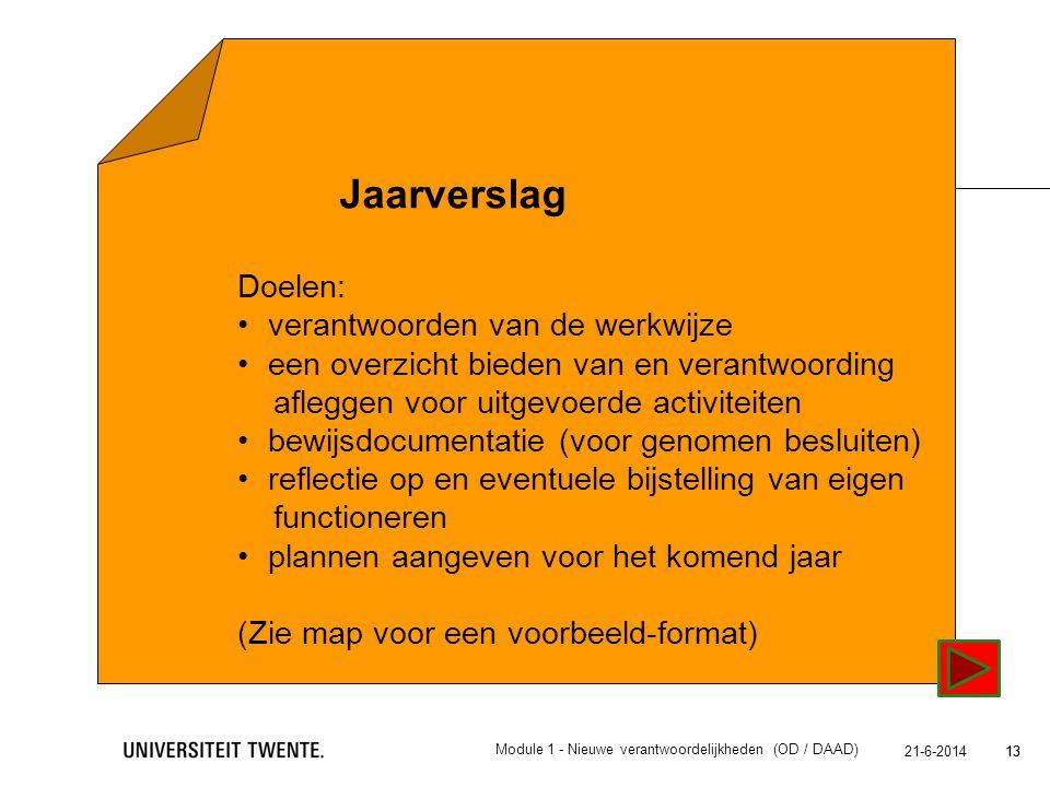 13 21-6-2014 13 Jaarverslag Doelen: •verantwoorden van de werkwijzeverantwoorden van de werkwijze •een overzicht bieden van en verantwoording afleggen
