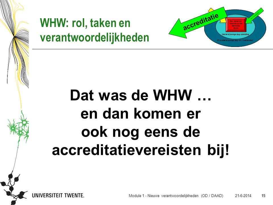 15 21-6-2014 15 Dat was de WHW … en dan komen er ook nog eens de accreditatievereisten bij! accreditatie WHW: rol, taken en verantwoordelijkheden Modu