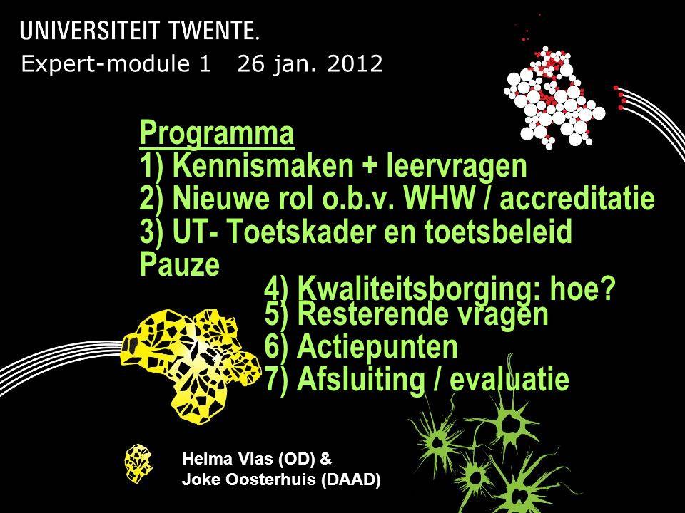 21-6-2014Presentatietitel: aanpassen via Beeld, Koptekst en voettekst Expert-module 1 26 jan. 2012 Programma 1) Kennismaken + leervragen 2) Nieuwe rol
