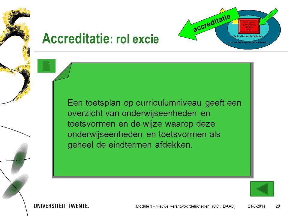 20 21-6-2014 20 accreditatie Accreditatie : rol excie Module 1 - Nieuwe verantwoordelijkheden (OD / DAAD) Een toetsplan op curriculumniveau geeft een