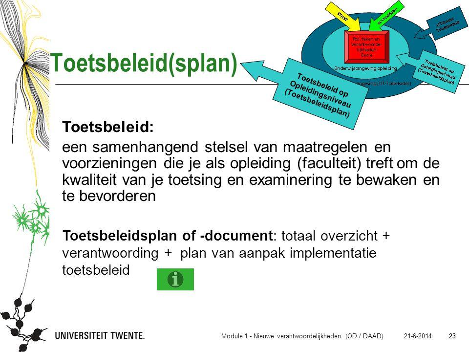 23 21-6-2014 23 Toetsbeleid(splan) Toetsbeleid: een samenhangend stelsel van maatregelen en voorzieningen die je als opleiding (faculteit) treft om de