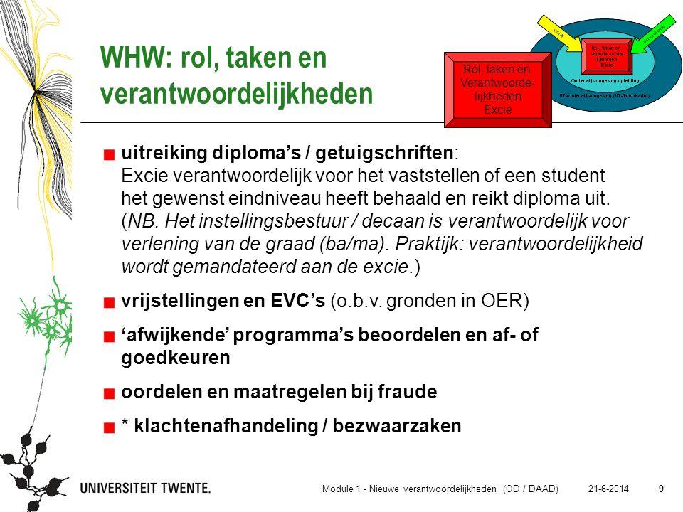 9 21-6-2014 9 WHW: rol, taken en verantwoordelijkheden uitreiking diploma's / getuigschriften: Excie verantwoordelijk voor het vaststellen of een stud