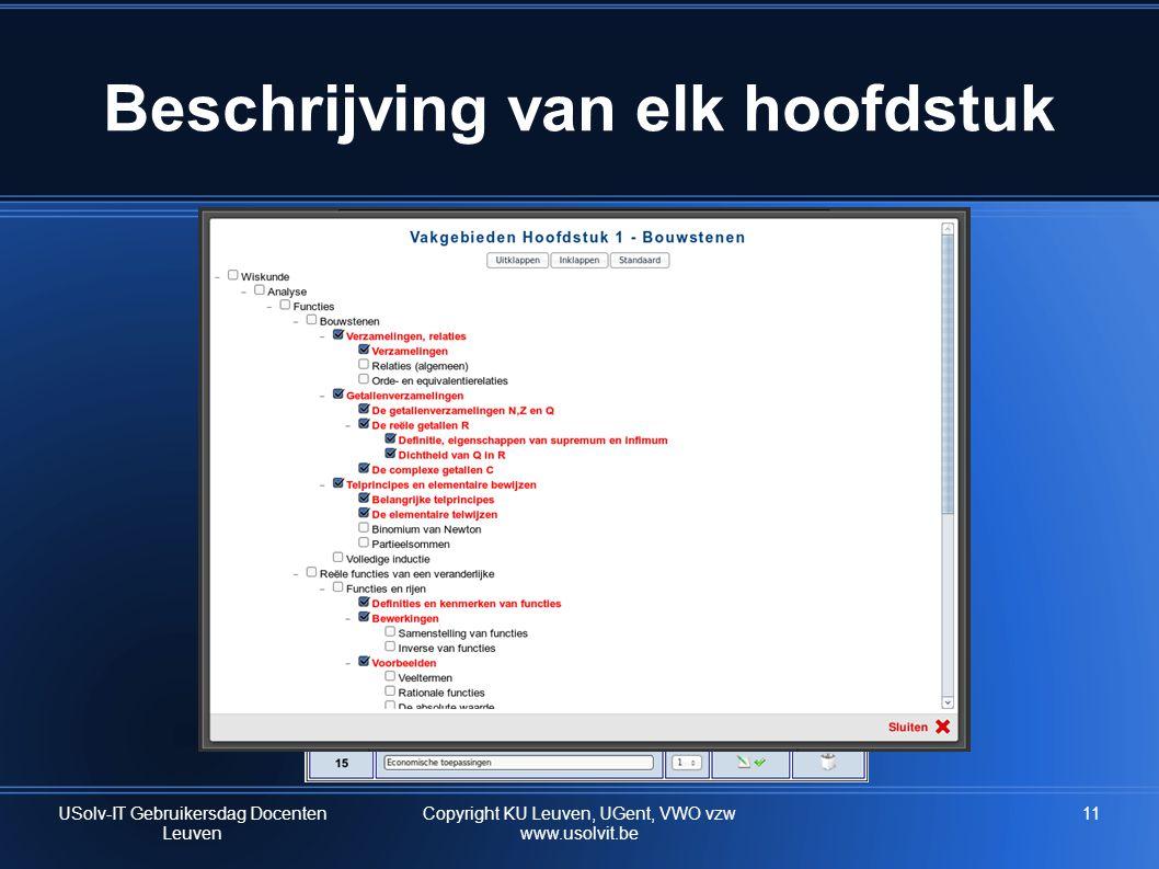 11 Beschrijving van elk hoofdstuk USolv-IT Gebruikersdag Docenten Leuven Copyright KU Leuven, UGent, VWO vzw www.usolvit.be