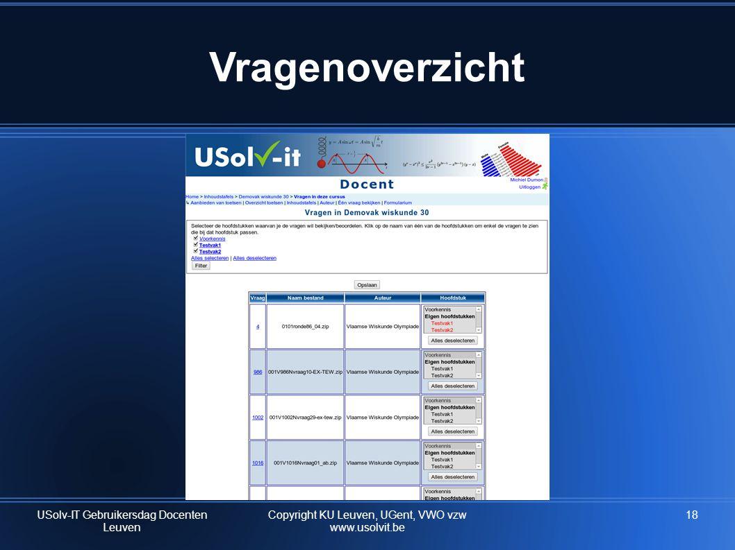 Vragenoverzicht USolv-IT Gebruikersdag Docenten Leuven 18Copyright KU Leuven, UGent, VWO vzw www.usolvit.be