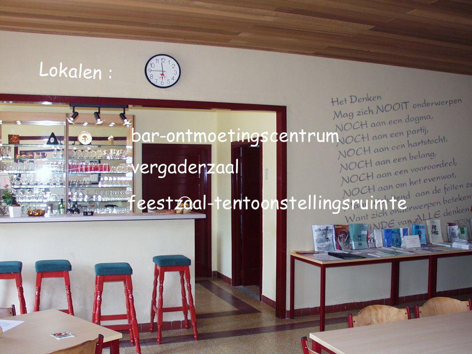 Lokalen : feestzaal-tentoonstellingsruimte bar-ontmoetingscentrum vergaderzaal
