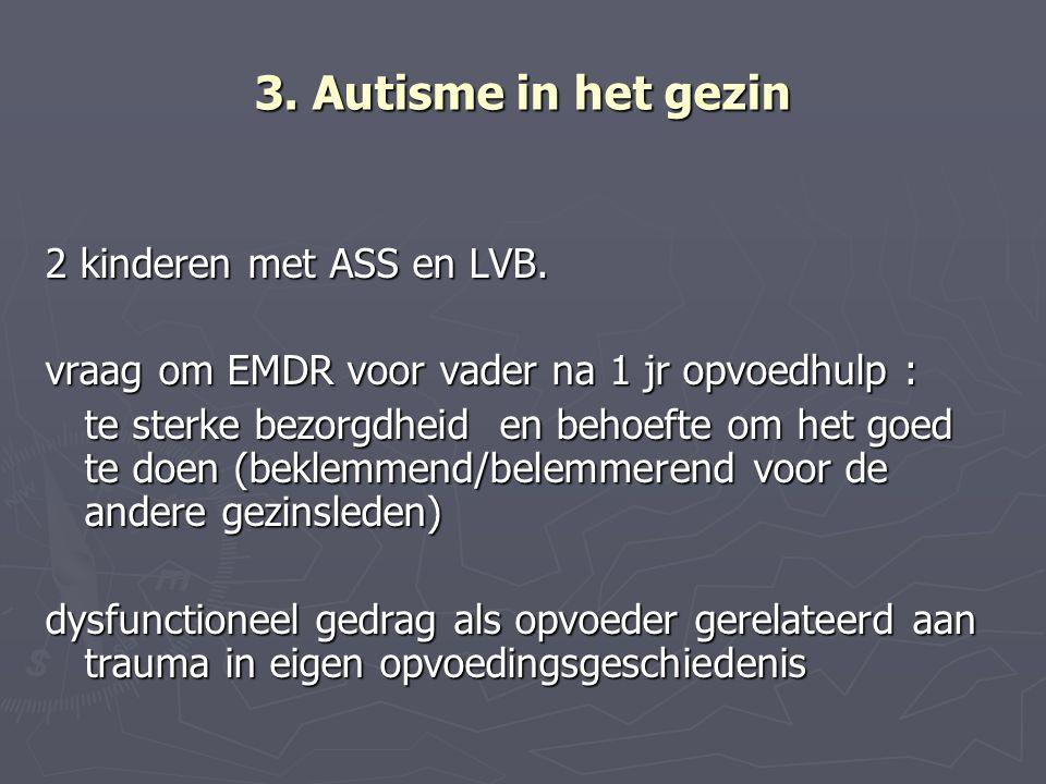 3. Autisme in het gezin 2 kinderen met ASS en LVB. vraag om EMDR voor vader na 1 jr opvoedhulp : te sterke bezorgdheid en behoefte om het goed te doen