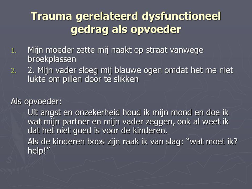 Trauma gerelateerd dysfunctioneel gedrag als opvoeder 1. Mijn moeder zette mij naakt op straat vanwege broekplassen 2. 2. Mijn vader sloeg mij blauwe