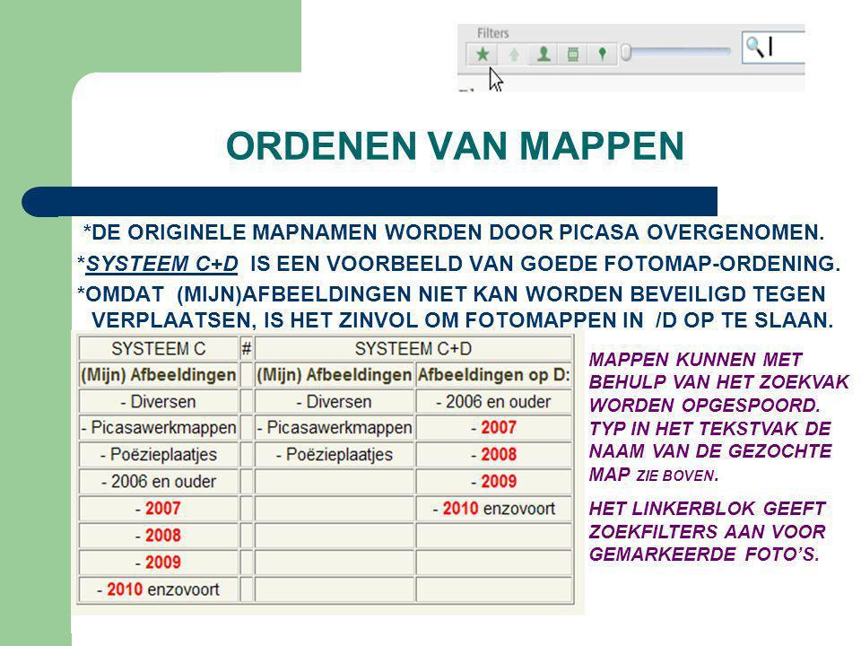 ORDENEN VAN MAPPEN *DE ORIGINELE MAPNAMEN WORDEN DOOR PICASA OVERGENOMEN. *SYSTEEM C+D IS EEN VOORBEELD VAN GOEDE FOTOMAP-ORDENING. *OMDAT (MIJN)AFBEE