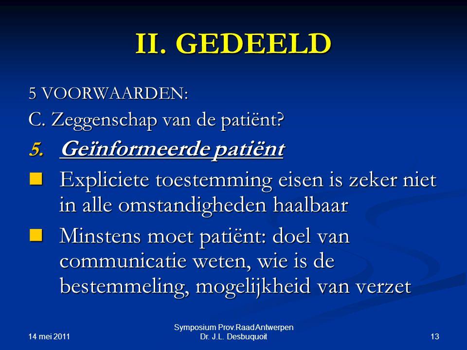 14 mei 2011 13 Symposium Prov.Raad Antwerpen Dr.J.L.