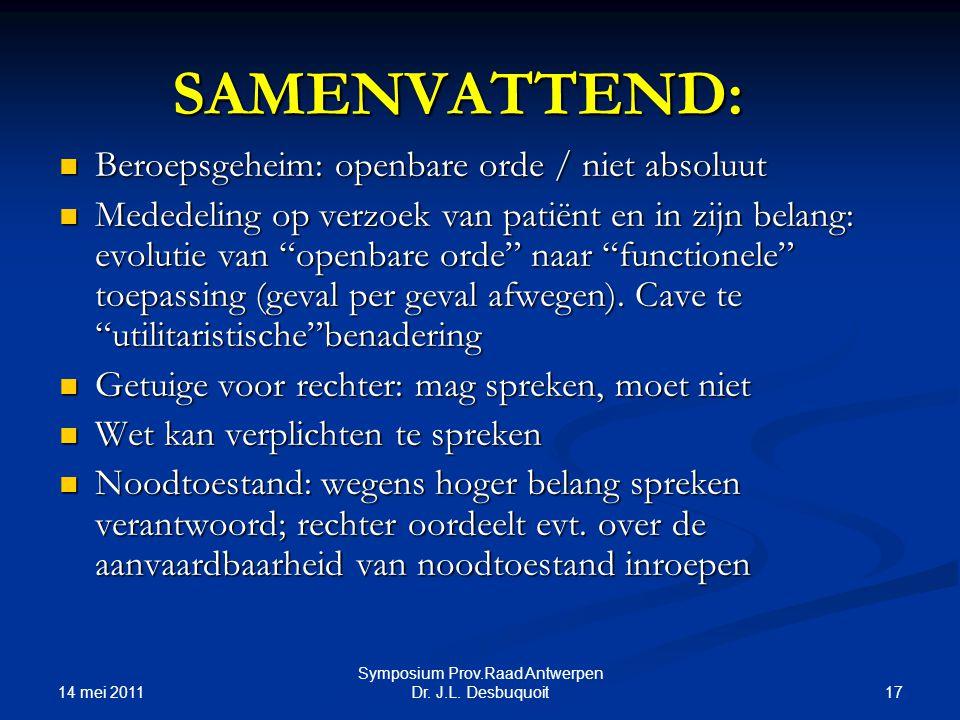 14 mei 2011 17 Symposium Prov.Raad Antwerpen Dr.J.L.
