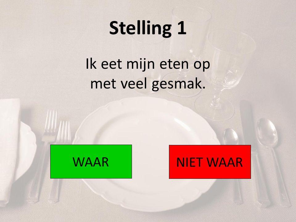 Stelling 12 Als ik bij iemand ga eten, wacht ik altijd tot de gastheer of gastvrouw begint met eten.