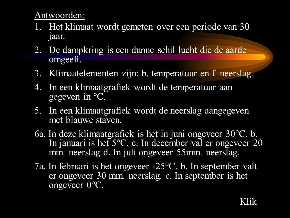 2. Klik Antwoorden: 1.Het klimaat wordt gemeten over een periode van 30 jaar. 2.De dampkring is een dunne schil lucht die de aarde omgeeft. 3.Klimaate