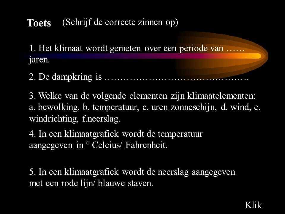 Toets 1. Het klimaat wordt gemeten over een periode van …… jaren. 2. 2. De dampkring is ………………………………………. 3. Welke van de volgende elementen zijn klima