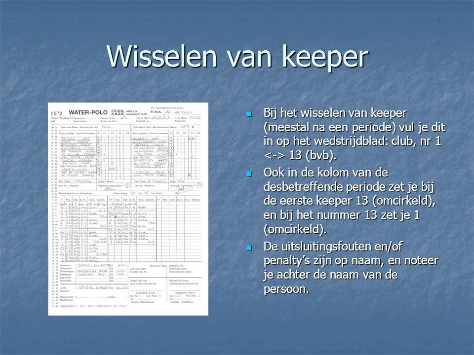 Wisselen van keeper  Bij het wisselen van keeper (meestal na een periode) vul je dit in op het wedstrijdblad: club, nr 1 13 (bvb).