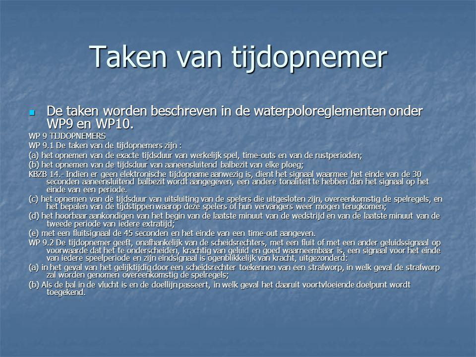 Taken van tijdopnemer  De taken worden beschreven in de waterpoloreglementen onder WP9 en WP10.