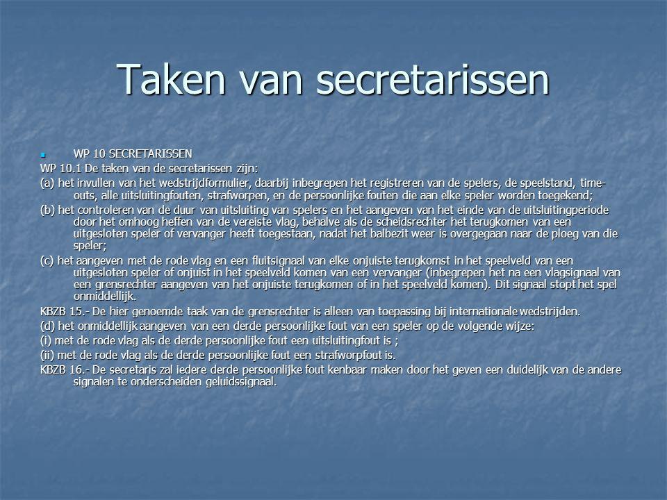 Taken van secretarissen  WP 10 SECRETARISSEN WP 10.1 De taken van de secretarissen zijn: (a) het invullen van het wedstrijdformulier, daarbij inbegre