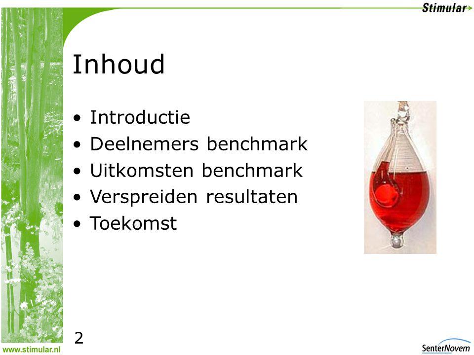 2 Inhoud •Introductie •Deelnemers benchmark •Uitkomsten benchmark •Verspreiden resultaten •Toekomst 2