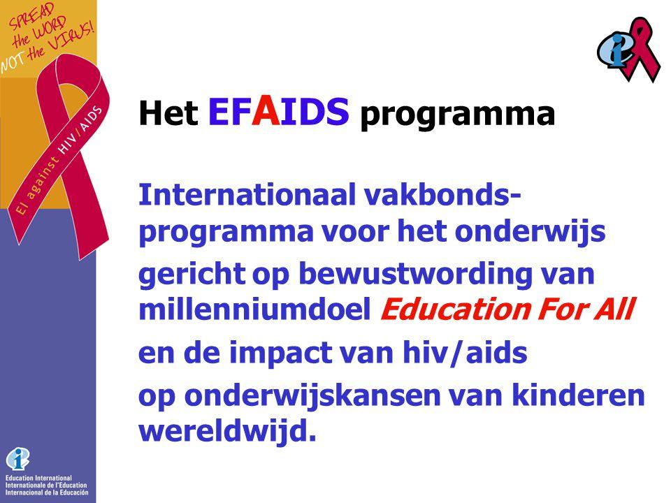 Het EF A IDS programma Internationaal vakbonds- programma voor het onderwijs gericht op bewustwording van millenniumdoel Education For All en de impact van hiv/aids op onderwijskansen van kinderen wereldwijd.