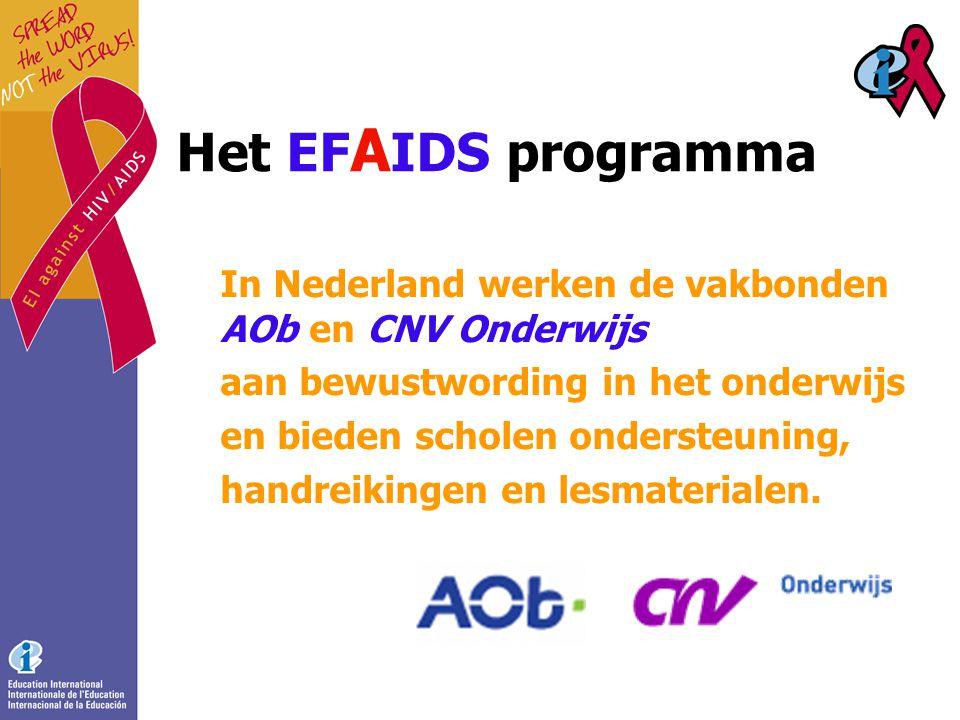 Het EF A IDS programma In Nederland werken de vakbonden AOb en CNV Onderwijs aan bewustwording in het onderwijs en bieden scholen ondersteuning, handreikingen en lesmaterialen.