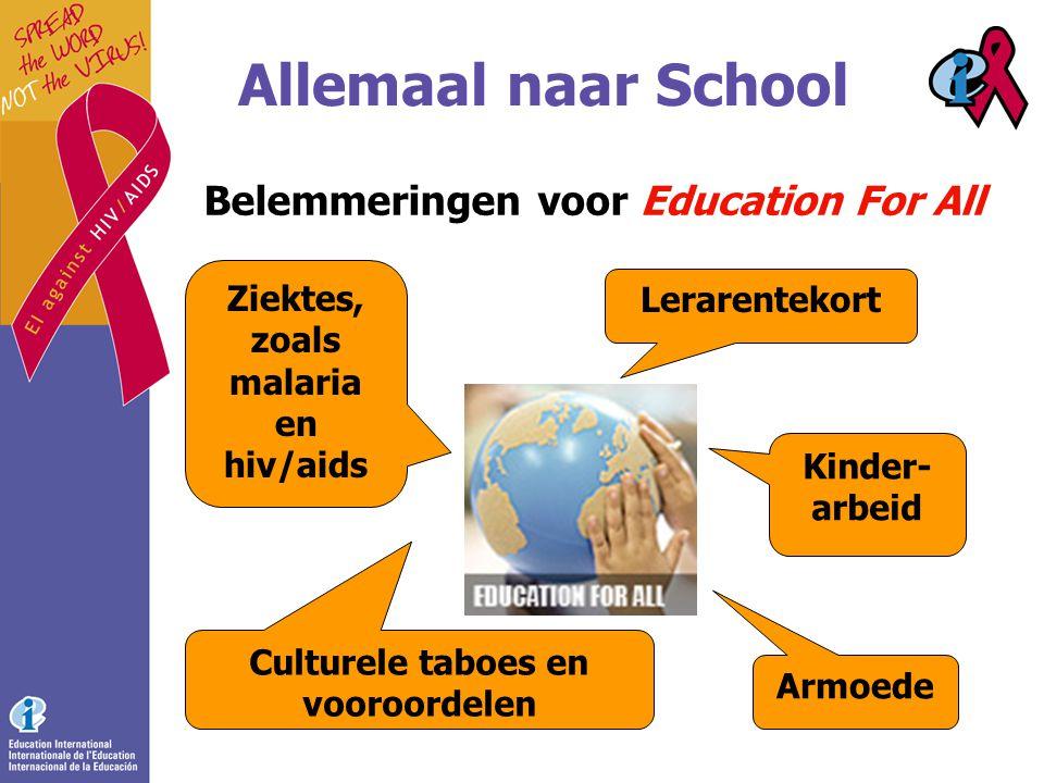 Allemaal naar School Belemmeringen voor Education For All Armoede Ziektes, zoals malaria en hiv/aids Culturele taboes en vooroordelen Lerarentekort Kinder- arbeid