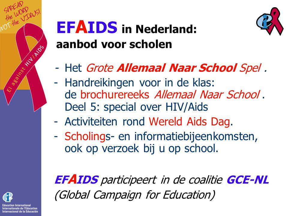 EF A IDS in Nederland: aanbod voor scholen -Het Grote Allemaal Naar School Spel.