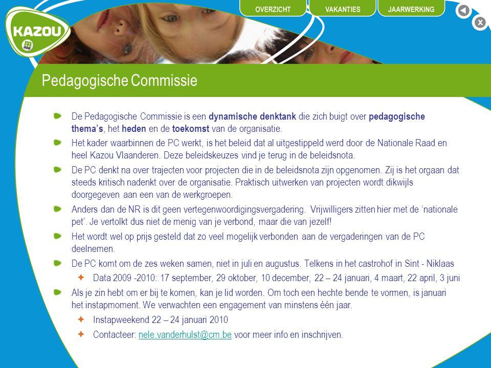 Pedagogische Commissie De Pedagogische Commissie is een dynamische denktank die zich buigt over pedagogische thema's, het heden en de toekomst van de organisatie.