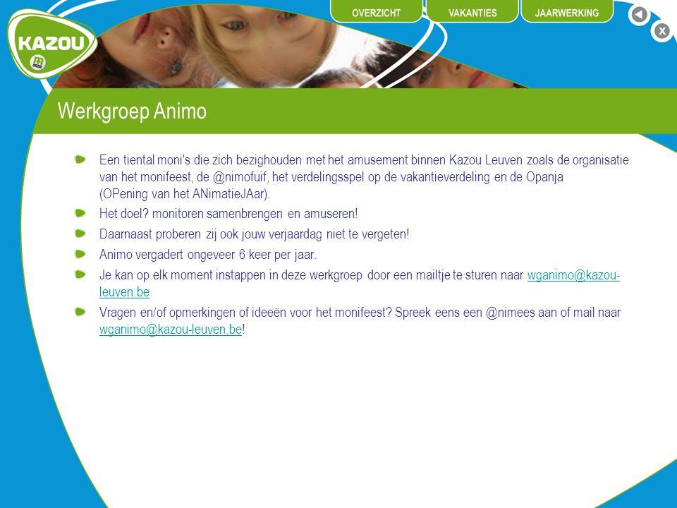 Werkgroep Animo Een tiental moni's die zich bezighouden met het amusement binnen Kazou Leuven zoals de organisatie van het monifeest, de @nimofuif, he