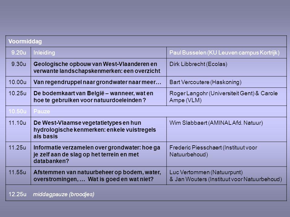 Voormiddag 9.20uInleidingPaul Busselen (KU Leuven campus Kortrijk) 9.30uGeologische opbouw van West-Vlaanderen en verwante landschapskenmerken: een overzicht Dirk Libbrecht (Ecolas) 10.00uVan regendruppel naar grondwater naar meer…Bart Vercoutere (Haskoning) 10.25uDe bodemkaart van België – wanneer, wat en hoe te gebruiken voor natuurdoeleinden .