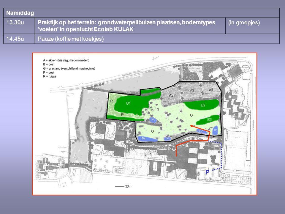 Namiddag 13.30uPraktijk op het terrein: grondwaterpeilbuizen plaatsen, bodemtypes 'voelen' in openlucht Ecolab KULAK (in groepjes) 14.45uPauze (koffie