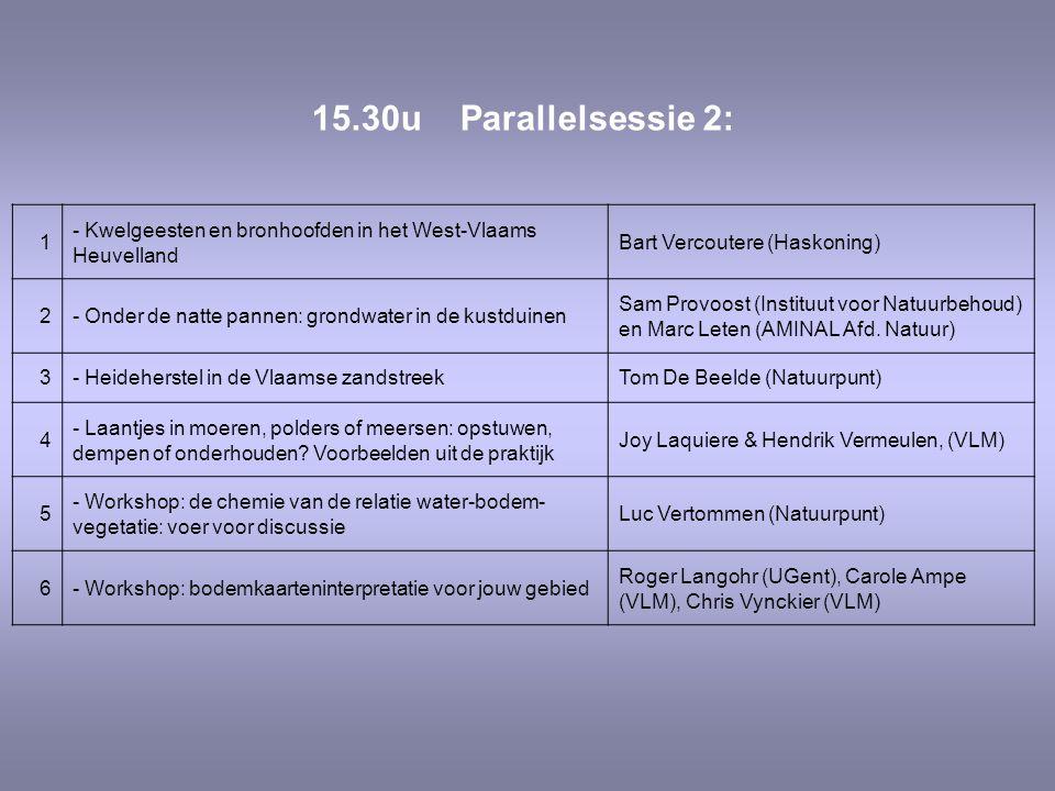 1 - Kwelgeesten en bronhoofden in het West-Vlaams Heuvelland Bart Vercoutere (Haskoning) 2- Onder de natte pannen: grondwater in de kustduinen Sam Provoost (Instituut voor Natuurbehoud) en Marc Leten (AMINAL Afd.