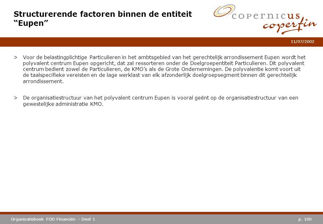 """p. 100Organisatieboek FOD Financiën – Deel 1 11/07/2002 Structurerende factoren binnen de entiteit """"Eupen"""" >Voor de belastingplichtige Particulieren i"""