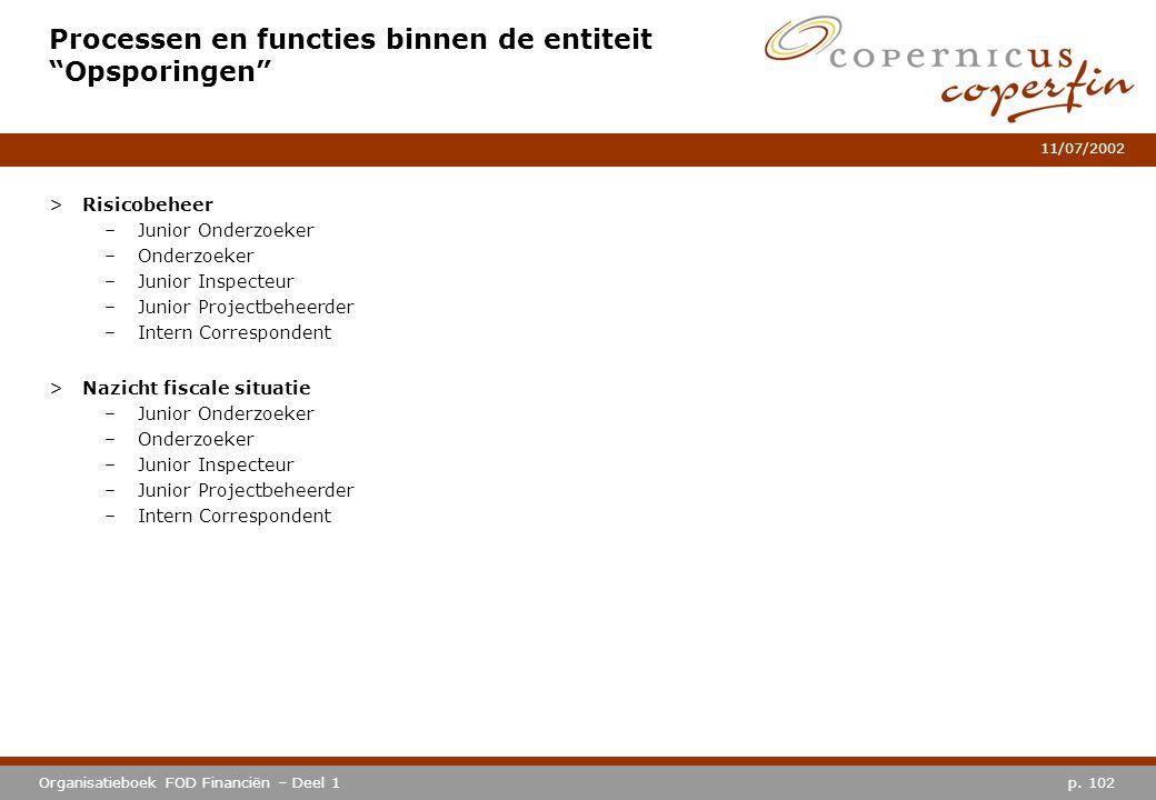 """p. 102Organisatieboek FOD Financiën – Deel 1 11/07/2002 Processen en functies binnen de entiteit """"Opsporingen"""" >Risicobeheer –Junior Onderzoeker –Onde"""